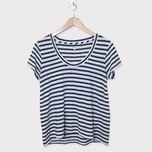 MADEWELL Navy White Striped Scoop Neck T-Shirt